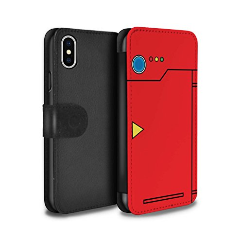Stuff4® PU-Leder Hülle/Case/Tasche/Cover für Apple iPhone XS/Rot Muster/Anime Cartoon Kodex Kollektion