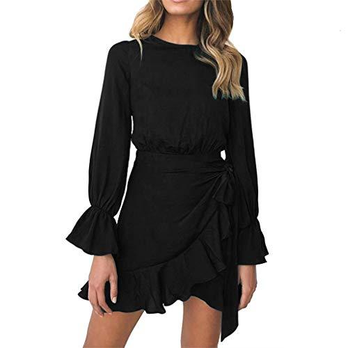 Land-karo-rock (Tohole Lange Ärmel Kleid Damen Kleider Rundhals Einfarbige Einfachheit Kleid Elegant Kurz Höhe Taillen Minikleid Partykleid Strandmode Kleid(Schwarz,M))