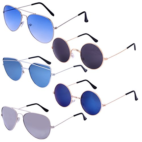 Amour Propre (Combo Pack of 5 - Round, Aviator) UV Protection & Polarized Unisex Sunglasses