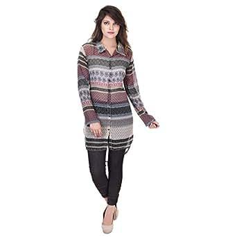 SAARVI FASHION Women's Printed Casual Shirt - SF041Multi-S_Black_Small