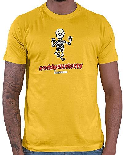 HARIZ  Herren T-Shirt Pixbros Eddyskeletty Halloween Kostüm Horror Umhang Plus Geschenkkarten Gold Gelb (Elf Halloween Kostüm Kleinkind)