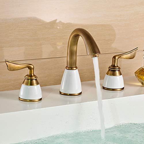 Ganjue Luxus 3 Stück Set Wasserhahn Bad Mixer Deck Montiert Waschbecken Wasserhahn Becken Wc Wasserhahn Set Golden Finish Mischbatterie Wasserhahn, 2 -