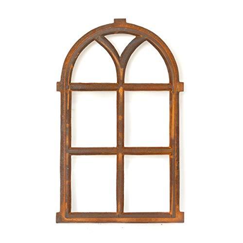 Antikas | Eisenfenster mit Rundbogen | ca. 66 x 39 cm | Als Landhausfenster, Gartenfenster und Garagenfenster