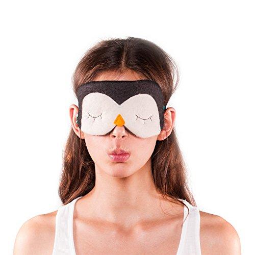 Møbla® Schlafmaske von ööloom, tierfreundliche Schlafbrille, Augenmaske, für Damen, Herren und Kinder, komplette Dunkelheit, Lichtdicht, lustige Motive, variable Größe | Pinguin (Kinder Die Volle Batman Maske)