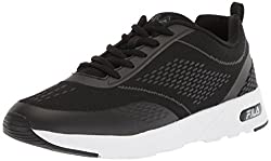 Fila Womens Memory Chelsea Knit Running Shoe, Black/Black/White, 6 Medium US