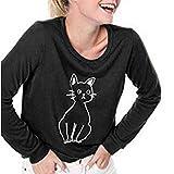 NPRADLA Sommer Bluse Damen Frauen Langarm Mit Katze Druck Rundkragen Beiläufig Shirt Tops