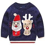 Kanodan Kinder Weihnachtspullover Jungen Mädchen Weihnachten Kleidung 2-7 Jahre Strickjacken (Blau, 2-3 Jahre)