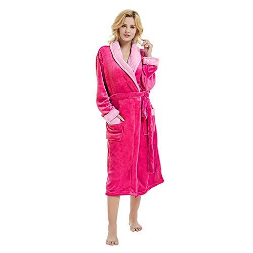 Junjie Ausverkauf Bademantel Baumwolle für Damen Herren mit Kapuze Zwei-farbig Morgenmantel Weich und Super Flauschig, Bath-Robe Waden Lang Unisex Bademantel Prato mit Kapuze Größe Größen