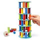 Coogam Gioco di accatastamento della Torre in Legno, Blocchi di abilità motoria con Dadi rovesciati Giocattolo della Torre Pendente Montessori Giochi per Famiglie per Bambini