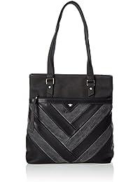 PIECES - Pcleah Leather Shopper, Henkeltasche Mujer, Schwarz (Black), 15x37x29 cm (W x H D)