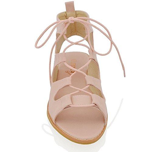ESSEX GLAM Flache Damen Sommer Schuhe Riemchen zum schnüren Römischer Gladiator Sandalen Pastellton Korallenrot Rosa Kunstleder