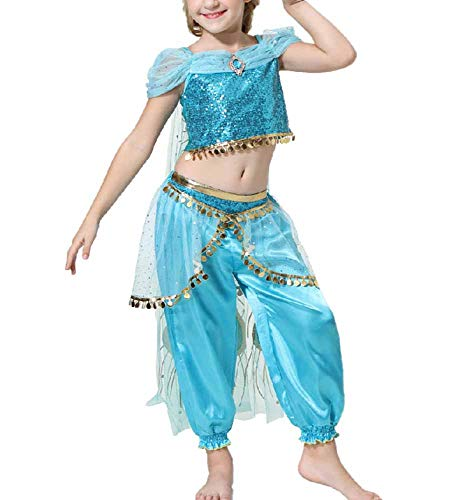 Satin Göttin Kostüm - Huateng Karnevalsmädchen Kostüm Aladdins Göttin Jasmin Kleid Set Party Prinzessin Kostüm