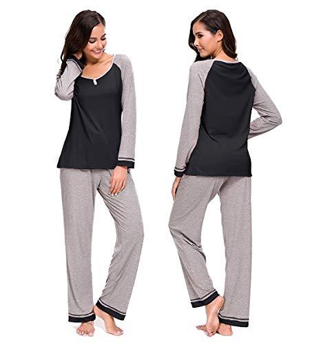 Genhoo Schlafanzüge für Damen, Damen Schlafanzug, Pyjama für Damen, Damen Pyjama Nachtwäsche Set Loungewear PJ Set - Baumwolle Pj Set
