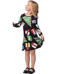 JYC Vestido para Niñas,Vestido para Bebés,Navidad Infantes Niños Chicas Punto Árbol Impresión Vestir Ropa Trajes