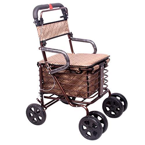 Walker Kleiner Warenkorb Alter Warenkorb Lebensmittelgeschäft Einkaufswagen Rollstuhl schiebbar kann ältere Faltbare Walker sitzen Vierrad Einkaufswagen/Roller Last 100kg - Walker Rest Sitz