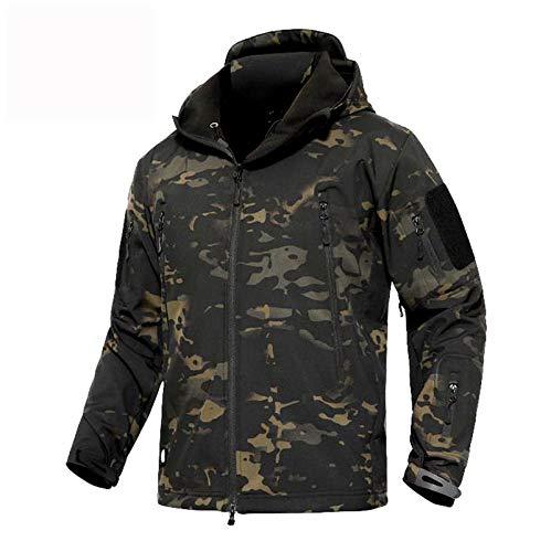 Memoryee uomo tattico camouflage softshell giacca outdoor militare pile fodera impermeabile antivento giubbotto con cappuccio (camouflage nero, 2xl)