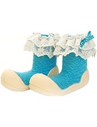 Attipas Newborn Baby Boys 3-40 Months Soft Sole Cotton Prewalker Formals Toddler Socks cum Shoes Trainer Flats, Blue