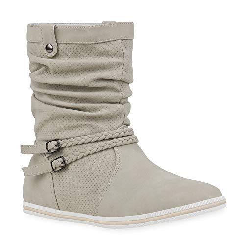 Bequeme Damen Stiefel Schlupfstiefel Lochungen Flache Boots Leder-Optik Metallic Schuhe 68688 Creme 36 Flandell