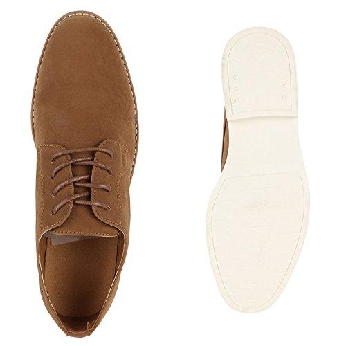 Herren Halbschuhe | Business Schuhe Veloursleder-Optik |Klassische Schnürer | Denim Lochung Geflochten Braun Velours Berkley