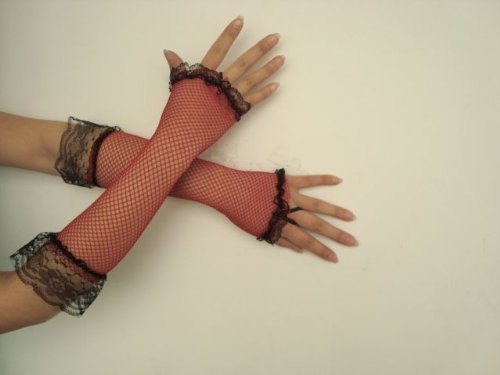 Netzhandschuhe Handschuhe Netz rot schwarz Lang Spitze Fingerling Finger Handschuh Fingerlos