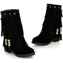CYGG New Ladies Botas con flecos Invisible Botas cortas más altas Students Scrub Flat Shoes , black , 39