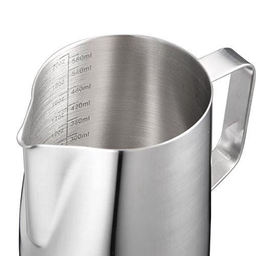 Harima - 600 ml bricco graduato per latte, in acciaio inox, con scala graduata