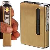 DOCOSS Electric Cigarette Lighters With 6 Pc Cigarette Holder Case Box Portable USB Flameless Windproof Lighter Cigarette Stylish For Men Women (Gold)