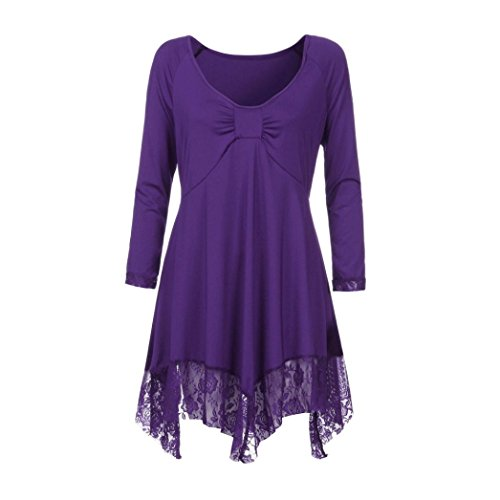 KaloryWee Sale Clearance Women Casual Flattering Large Size Lace Loose Shirt Low Mock V Neck Long Sleeve Casual Long Dress Tops Blouse