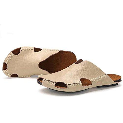 Männer Leder Slipper handgefertigte Vintage Flip Flops Front Paket Sandalen Mode und komfortabel , light brown , 44