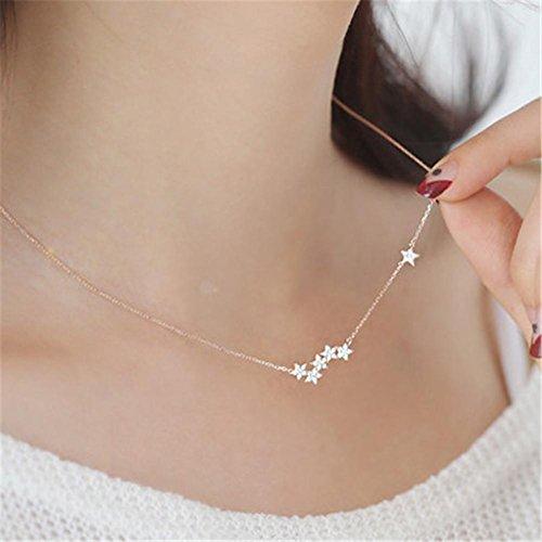 S925 einfache Silber Diamant-Halskette Damen Modeschmuck Stern , rose gold