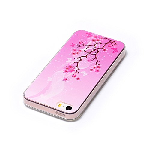 iPhone 5S Hülle, iPhone SE Hülle, Gift_Source [ Maple Leaf & Flamingo ] weichem und transparentem TPU Transparent Weiche Silikon Schutzhülle TPU Schutz Handy Hülle Case Tasche Etui Bumper für iPhone S E1-Pinke Blume