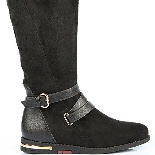 Ideal Shoes–Stivali bi-materiale con cinturone e piano cottura métalisée Laurette Nero