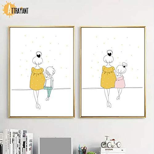 XWArtpic Cartoon Frau Mädchen Kind Minimalismus Wandkunst Malerei auf Leinwand Nordic Poster und Drucke Bilder an der Wand Kinderzimmer Kinder Kinder Dekoration 50 * 70cm * 2St