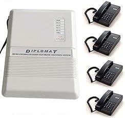 Business Peoples Diplomat EPABX 104 Intercom System and 4 Beetel Phone Set