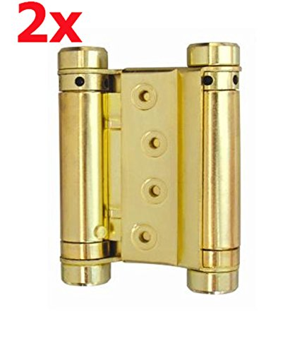 2x Stahl 100mm Messing Cover Pendeltürband Pendeltürscharnier Schwingtür Tür Scharnier