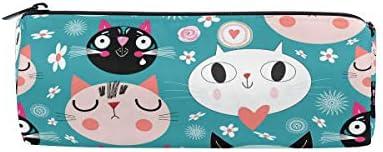 Bonipe mignon Dessin animé Hipster Cat Trousse Pochette Pochette Pochette Sac d'école papeterie Pen Box Zipper Cosmétique Sac de maquillage   Perpignan  97190c