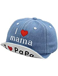 a6faff6425fca Ziory 1 Pc Blue  I love PAPA MAMA  Denim Embroidered Baseball Cap for baby