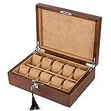 LIYFF-Uhrenbox Uhranzeigenbehälter Aufbewahrungsbox 10 Grids Luxus Schmuckkollektion Case Showcase Organizer mit Metallverschluss und abnehmbaren Samtkissen
