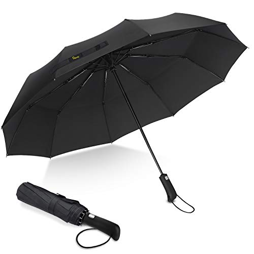 Parapluie Pliant, Heasy Parapluie Coupe-Vent, LšŠger, Incassable, 10 Baleines Parapluie de Voyage Ouverture et Fermeture Automatique avec Revšºtement en TšŠFlon pour Hommes et Femmes