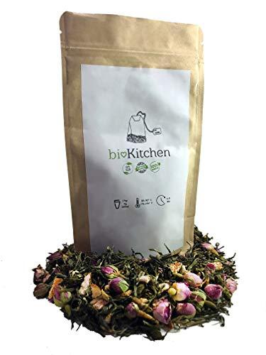 Grüner Tee-weißer Tee-tee (B♡-Kitchen© - Weißer Tee mit Rosenblüten und Orangenschalen | ISO9001-zertifiziert | rein + vegan | Premium Qualität aus der Türkei | Zufriedenheitsgarantie | 100g)