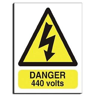 Danger 440 Volts Sign - Semi Rigid Plastic - 200x250mm(WA-029-RE)