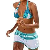 SuperSU-Bademode ►▷ Damen Sommer Bikini Sexy Neckholder Frenulum Steigung Print Spleiß Bademode +Tunnelzug Badeshorts Zweiteiler,Frauen Urlaub Beachwear Casual Split Badeanzug