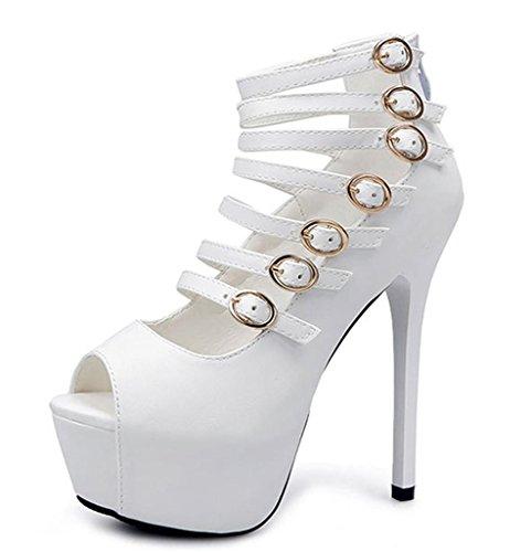 LNGXE Frauen Caged Strappy Plattform High Heels mit Gold Buckles Schwarz Weiß Sandalen wasserdichte Plattform, 37 Caged High Heel