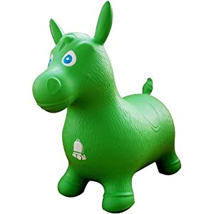Green Horse Hopper, Pump Included (Inflatable Space Hopper, Jumping Horse, Ride-on Bouncy Animal)