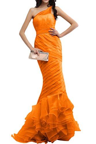 Gorgeous Bride Romantisch Ein-Traeger Meerjungfrau Organza Tuell Satin Lang Abendkleider Ballkleider Prom Kleider Orange