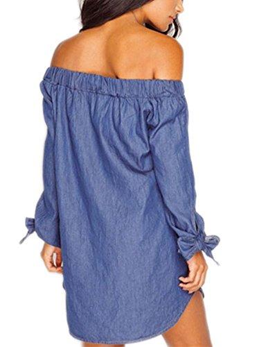 Arrowhunt Damen Mädchen Dünne Denim Loose Schulterfrei Langarm Bluse Minikleid Tiefer Blau