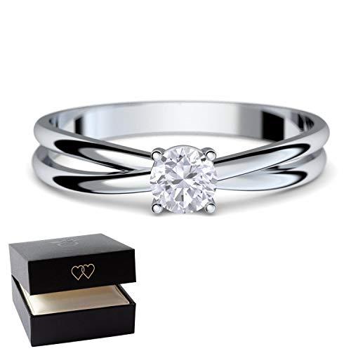 Verlobungsringe Weißgold Ring 333 ** GRATIS LUXUSETUI MIT GRAVUR** Weißgold Ring 333er von AMOONIC mit Zirkonia Stein Weißgoldring wie Verlobungsring Diamant Ring Diamantring Gold FF386WG333ZIFA54