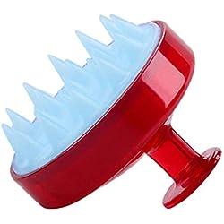 Dastrues Massagebürste für SPA Massagebürste Kopf aus Silikon Shampoo für den Körper Kamm der Kopfhaut Rot