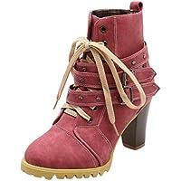 Botines para Mujer K-Youth Botines De Altos Tacón Mujer Piel Botas Mujer Invierno Botines Mujer Tacon Cordones 8.5 Cm Zapatos Mujer Plataforma Moda Otoño Azul Rojo Amarillo 36-41