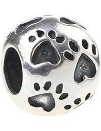 Auténtico Colgante de plata de ley 925forma de corazón para Europea Pulsera de huellas de perro